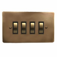 Victorian Rocker Light Switch 4 Gang Hand Aged Brass