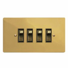 Victorian Rocker Light Switch 4 Gang Polished Brass Lacquered & Black Trim