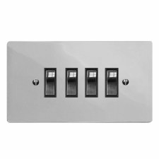 Victorian Rocker Light Switch 4 Gang Polished Chrome & Black Trim