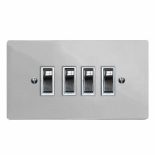 Victorian Rocker Light Switch 4 Gang Polished Chrome & White Trim