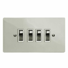Victorian Rocker Light Switch 4 Gang Polished Nickel