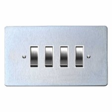 Victorian Rocker Light Switch 4 Gang Satin Chrome & White Trim
