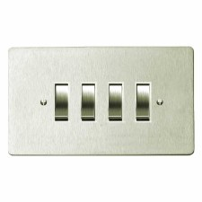 Victorian Rocker Light Switch 4 Gang Satin Nickel