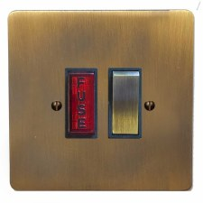Victorian Switched Fused Spur Illuminated Antique Brass Lacquered