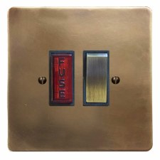 Victorian Switched Fused Spur Illuminated Hand Aged Brass