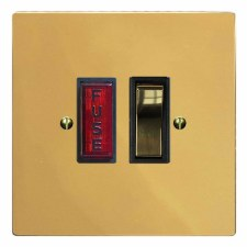 Victorian Switched Fused Spur Illuminated Polished Brass Unlacquered