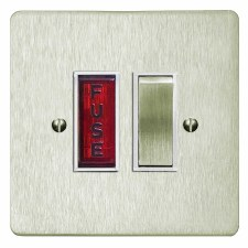 Victorian Switched Fused Spur Illuminated Satin Nickel