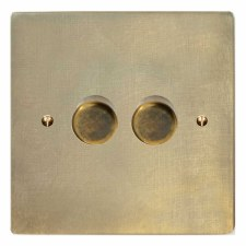 Victorian Dimmer Switch 2 Gang Antique Satin Brass