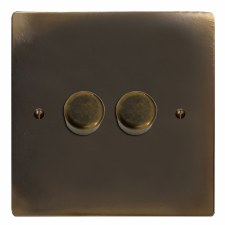 Victorian Dimmer Switch 2 Gang Dark Antique Relief