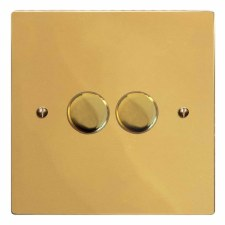 Victorian Dimmer Switch 2 Gang Polished Brass Unlacquered