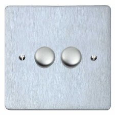 Victorian Dimmer Switch 2 Gang Satin Chrome