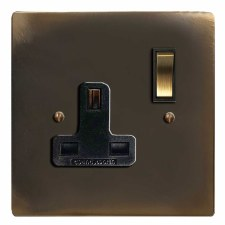 Victorian Switched Socket 1 Gang Dark Antique Relief