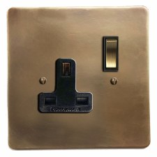 Victorian Switched Socket 1 Gang Hand Aged Brass