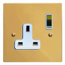 Victorian Switched Socket 1 Gang Polished Brass Lacquered & White Trim
