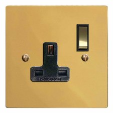 Victorian Switched Socket 1 Gang Polished Brass Lacquered & Black Trim