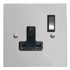 Victorian Switched Socket 1 Gang Polished Chrome & Black Trim