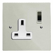 Victorian Switched Socket 1 Gang Polished Nickel