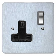 Victorian Switched Socket 1 Gang Satin Chrome & Black Trim