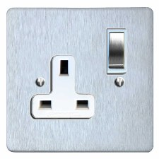 Victorian Switched Socket 1 Gang Satin Chrome & White Trim