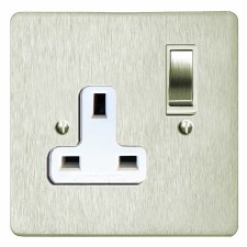 Victorian Switched Socket 1 Gang Satin Nickel