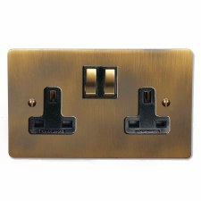 Victorian Switched Socket 2 Gang Antique Brass Lacquered