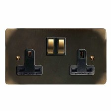 Victorian Switched Socket 2 Gang Dark Antique Relief