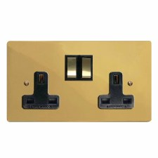 Victorian Switched Socket 2 Gang Polished Brass Lacquered & Black Trim