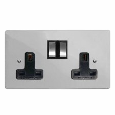 Victorian Switched Socket 2 Gang Polished Chrome & Black Trim
