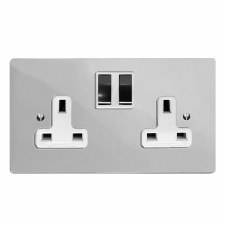 Victorian Switched Socket 2 Gang Polished Chrome & White Trim