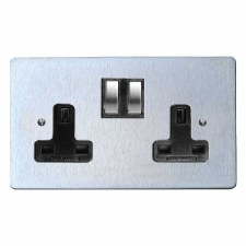Victorian Switched Socket 2 Gang Satin Chrome & Black Trim