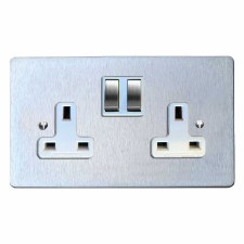Victorian Switched Socket 2 Gang Satin Chrome & White Trim