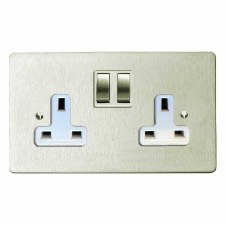 Victorian Switched Socket 2 Gang Satin Nickel
