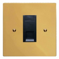 Victorian Telephone Socket Secondary Polished Brass Lacquered & Black Trim