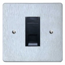 Victorian Telephone Socket Secondary Satin Chrome & Black Trim