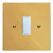 Victorian Fused Spur Connection Unit 13 Amp Polished Brass Lacquered & White Trim