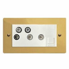Victorian Sky+ Socket Polished Brass Lacquered & White Trim