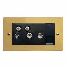 Victorian Sky+ Socket Polished Brass Lacquered & Black Trim