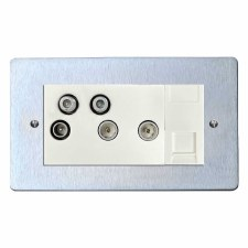 Victorian Sky+ Socket Satin Chrome & White Trim