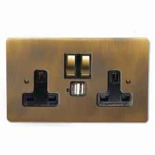 Victorian Switched Socket 2 Gang USB Antique Brass Lacquered