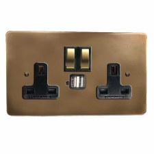 Victorian Switched Socket 2 Gang USB Hand Aged Brass