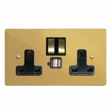 Victorian Switched Socket 2 Gang USB Polished Brass Lacquered & Black Trim