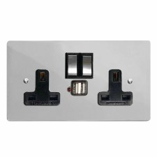 Victorian Switched Socket 2 Gang USB Polished Chrome & Black Trim