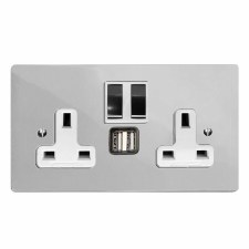 Victorian Switched Socket 2 Gang USB Polished Chrome & White Trim