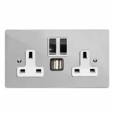 Victorian Switched Socket 2 Gang USB Polished Chrome & White Trim