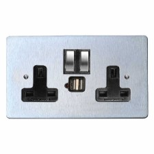 Victorian Switched Socket 2 Gang USB Satin Chrome & Black Trim