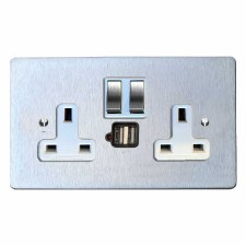 Victorian Switched Socket 2 Gang USB Satin Chrome & White Trim
