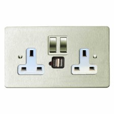 Victorian Switched Socket 2 Gang USB Satin Nickel