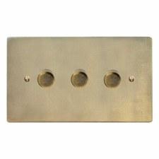 Victorian Dimmer Switch 3 Gang Antique Satin Brass