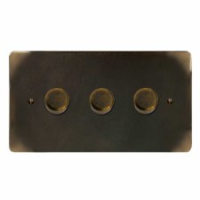 Victorian Dimmer Switch 3 Gang Dark Antique Relief