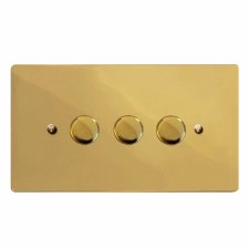 Victorian Dimmer Switch 3 Gang Polished Brass Unlacquered
